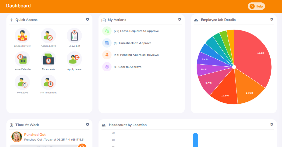 OrangeHRM HRIS dashboard with quick access widgets to favourite locations.