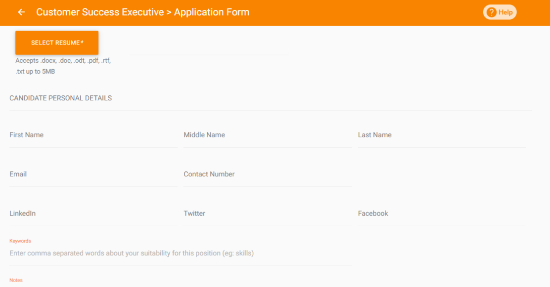 Customizable Application Forms Questions